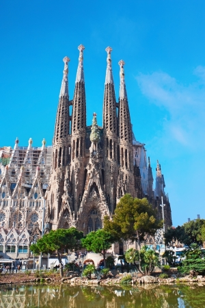 uncomplete: Sagrada Familia in Barcelona on sunny spring day
