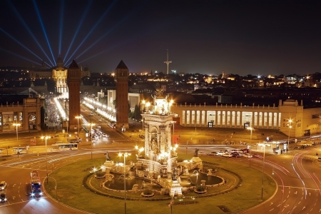 espana: Plaza Espana in Barcelona night, aerial view Stock Photo