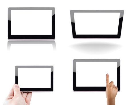 Modern tablet device over white background photo