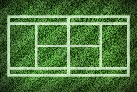 Tennis court on grass field photo