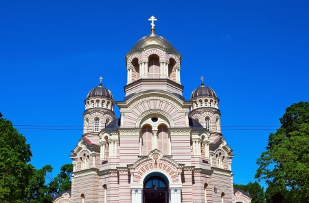 Beautiful orthodox cathedral in the Riga city, Latvia photo