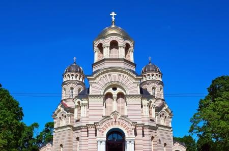 Beautiful orthodox cathedral in the Riga city, Latvia photo