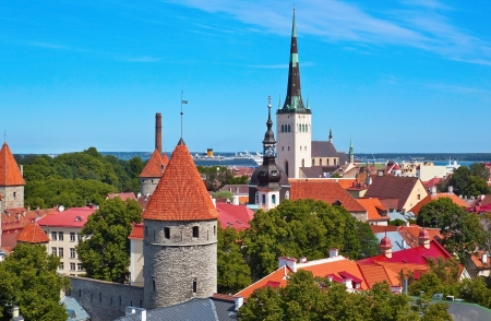 View to the old Tallinn town in Estonia