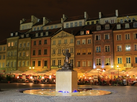 town houses capital: Cymbol of Warsaw city - Mermail in summer night Editorial