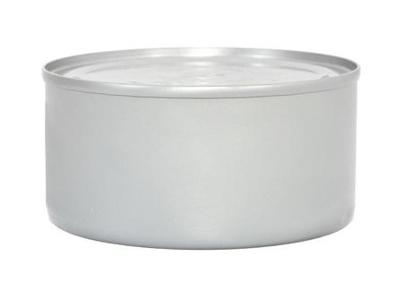 Lege metalen voedsel kan op een witte achtergrond Stockfoto