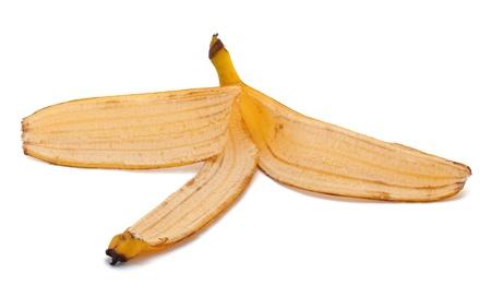 pitfall: Banana skin on the white background