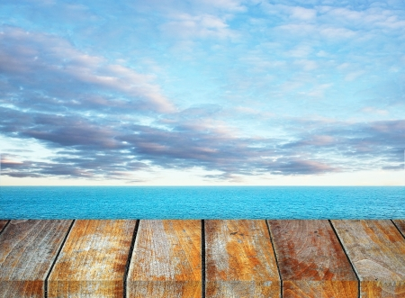 Wooden pieron sunny day with blue sky