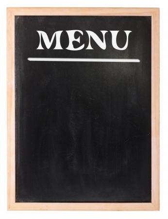 antiqued: Menu chalk board on white background Stock Photo