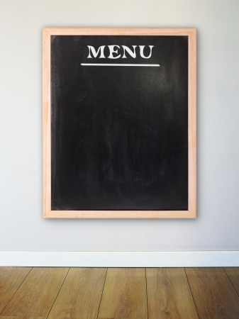 Menu board on the modern wall photo