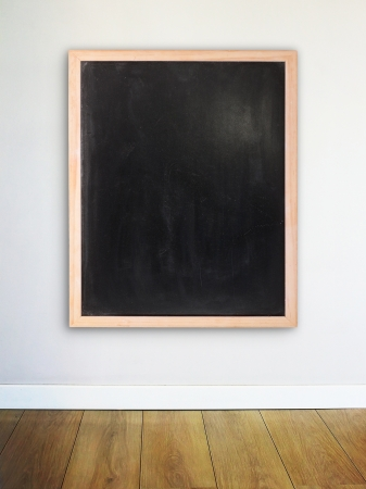 Empty chalk board on the modern wall photo