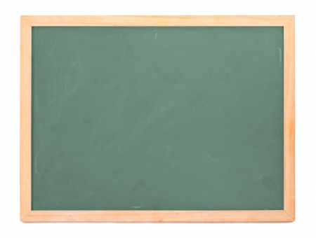 Empty chalk board isolated on white photo