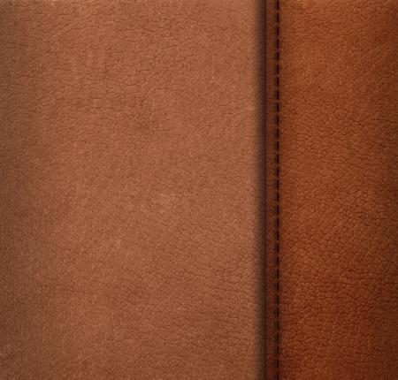 cuero vaca: Modelo de la superficie de cuero artificial con costura hilo Foto de archivo