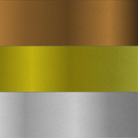 Oberflächen aus Bronze, Gold und Silber Metallen Vektorgrafik
