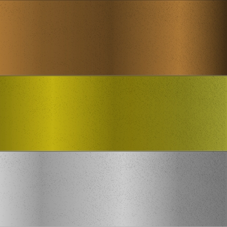 Surface of bronze, gold and silver metals