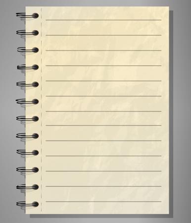 revestido: Alinhado velho caderno espiral