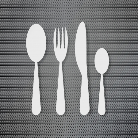 Silverware on the metal surface background Vector