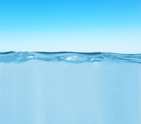 waterline: Waterline with splashes in the open area Stock Photo
