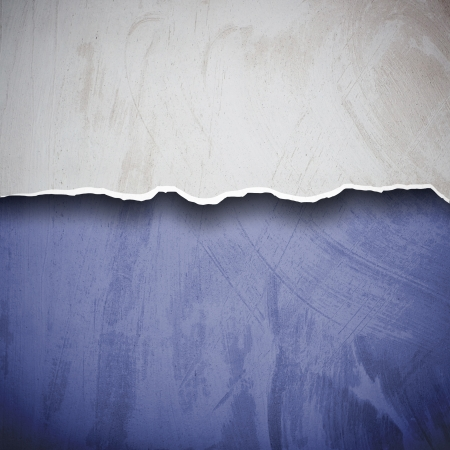 solid blue background: Torn plaster wall surface for background Stock Photo