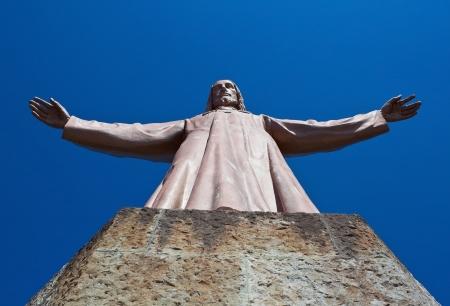 tibidabo: Tibidabo hill Jesus statue in Barcelona, Spain