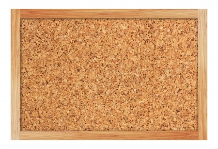 Brown cork board with wooden frame photo