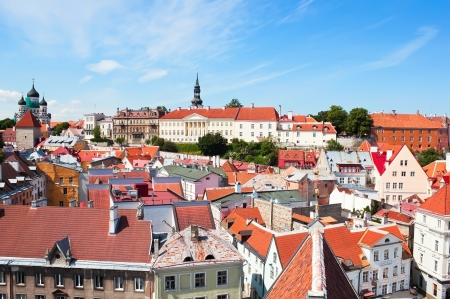 estonia: Tallinn old town center on sunny summer day Stock Photo