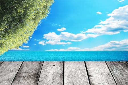 Wooden gray pier on sunny day with blue sky photo