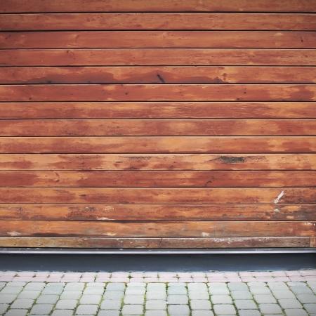 wall angle corner: Wooden plank wall and brick floor  interior Stock Photo