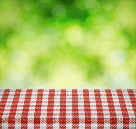red tablecloth: Table cloth and nature background Stock Photo
