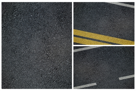 Set of the asphalt road surface with lines photo