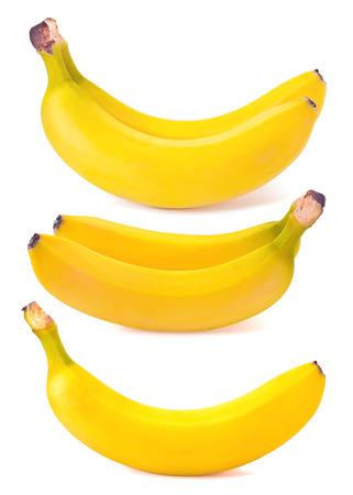 Two juicy yellow banana on white background photo