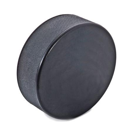Ice hockey puck isolated on white Stock Photo