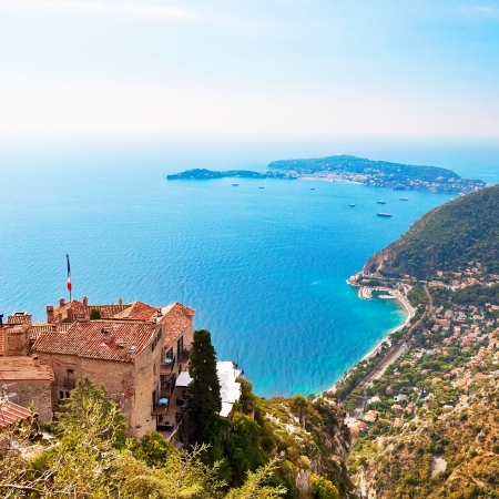 View from Eze in France to Nice, Monaco and other french villages Standard-Bild