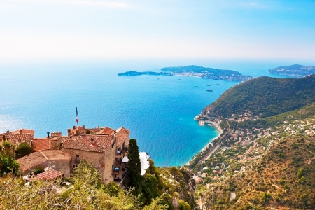 french riviera: View from Eze in France to Nice, Monaco and other french villages Stock Photo