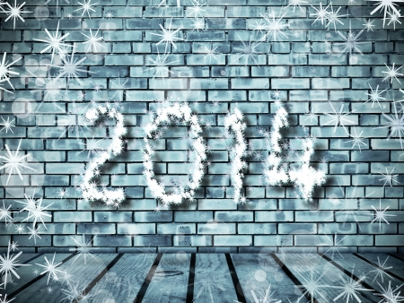 Wall from frozen bricks and wooden floor with 2014 sign from snowflakes photo