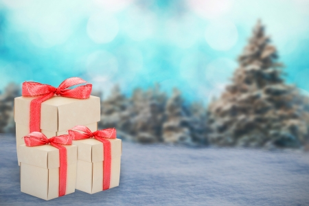 Christmas preset boxes on chirstmas holiday background photo