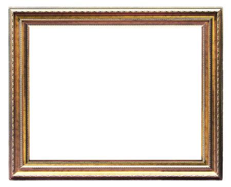 fine art portrait: Old golden picture frame on white background
