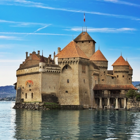 Chillon castle in Montreux. Geneva lake in Switzerland