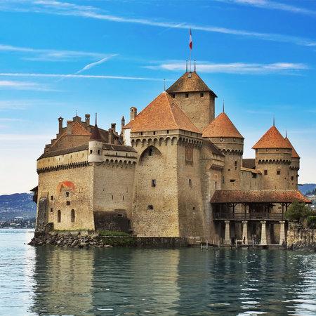 chillon: Chillon castle in Montreux. Geneva lake in Switzerland Editorial