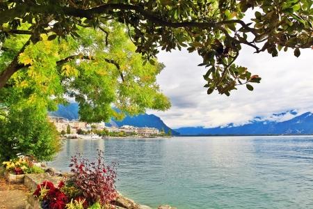 Park near the Geneva lake in Montreux