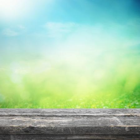 field and sky: Tabla de madera cerca de la pradera de primavera
