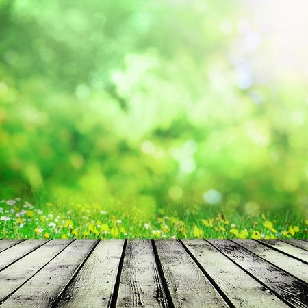 봄 초원 근처 나무 테이블