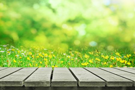 Houten tafel in de buurt van de lente weide Stockfoto