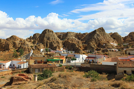cave dweller: Famous troglodyte houses in Guadix village in Spain