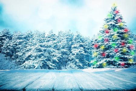冬の森で木製のパスやピクニック テーブル
