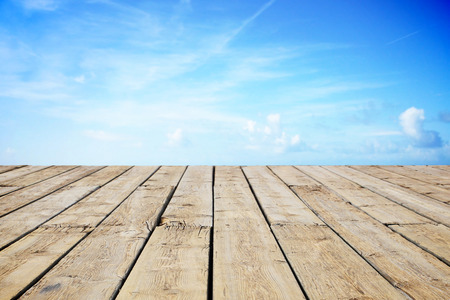 peaceful background: Path wooden on the beach Stock Photo