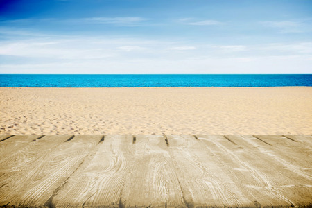 open air: Tropical sea and beach in hot summer day with wooden path