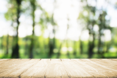 Wooden table for eat in morning park in sunlight.