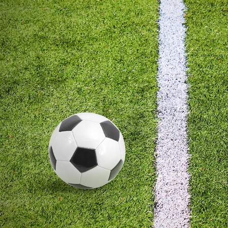 collegiate: Soccer footblall field with white line