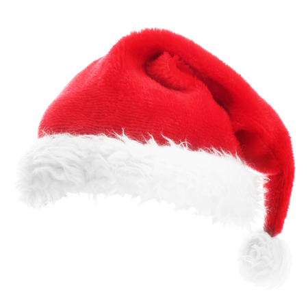 white fur: Christmas Santa hat isolated on white background Stock Photo