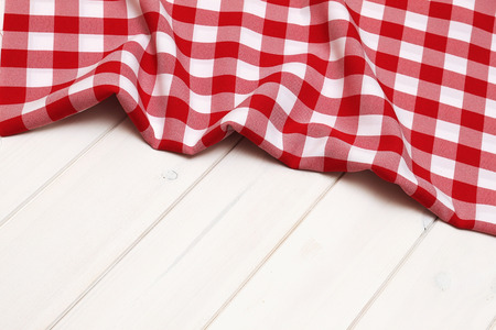 tablecloth: Blank space for object on wooden background with red tablecloth